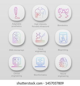 Bioengineering app icons set. Biotechnology. Molecular biology, biomedical and molecular engineering, bioinformatics. UI/UX user interface. Web or mobile applications. Vector isolated illustrations