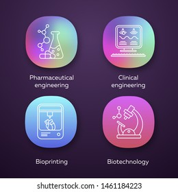 Bioengineering app icons set. Medical technologies. Pharmaceutical and clinical engineering, bioprinting, biotechnology. UI/UX user interface. Web or mobile applications. Vector isolated illustrations