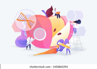 Bioengineering, biotechnology. Food additives. Genetic engineering. Genetically modified foods, GM foods, genetically engineered foods concept. Vector isolated concept creative illustration