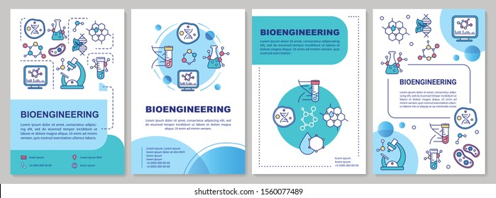 Bioengineering brochure template. Laboratory research. Flyer, booklet, leaflet print, cover design with linear illustrations. Vector page layouts for magazines, annual reports, advertising posters
