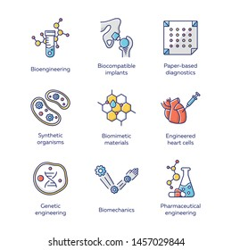 Bioengineering color icons set. Biotechnology for health, evolutionary researching, new materials creating. Molecular biology, biomedical and molecular engineering. Isolated vector illustrations