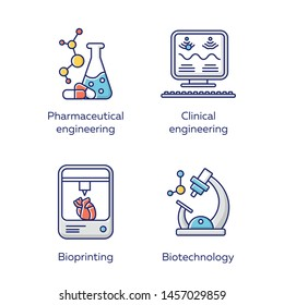 Bioengineering color icons set. Medical technologies research and diseases treatment. Pharmaceutical and clinical engineering, bioprinting, biotechnology. Isolated vector illustrations