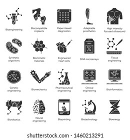 Bioengineering glyph icons set. Biotechnology. New methods of diseases diagnosis and treatment, genetic engineering, artificial intelligence. Silhouette symbols. Vector isolated illustration