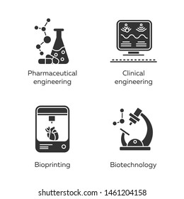 Bioengineering glyph icons set. Medical technologies research, diseases treatment. Pharmaceutical and clinical engineering, bioprinting, biotechnology. Silhouette symbols. Vector isolated illustration