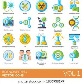 Bioengineering icons including bacteria, virus, bio art, biohazard, bioethics debate, bioinformatics, biological network, biomolecular interaction, biotech, cell reprogramming, laboratory, chromosome.