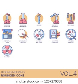 Bioengineering icons including chemical reaction, laboratory, test tube, chemistry experiment, mouse, protective wear, reproduction, bacteria, virus, scientific literature, petri dish, radiation.