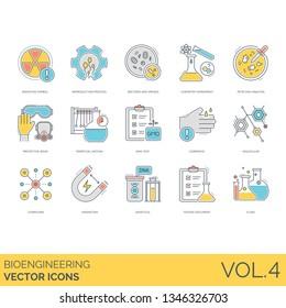 Bioengineering icons including radiation symbol, reproduction process, bacteria, virus, chemistry experiment, petri dish analysis, protective wear, perpetual motion, GMO test, corrosive, molecular.