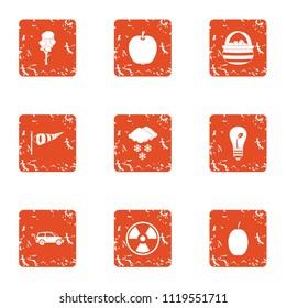 Bioengineering icons set. Grunge set of 9 bioengineering vector icons for web isolated on white background