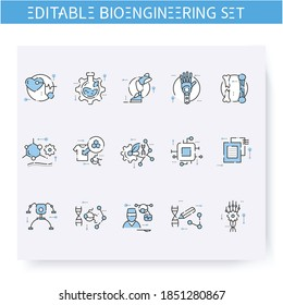 Bioengineering line icons set. Science, medicine, prosthetics. Biomedical engineering, nanotechnology and medical research innovations concept. Isolated vector illustration. Editable stroke