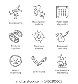 Bioengineering linear icons set. Biotechnology. Molecular biology, biomedical and molecular engineering. Thin line contour symbols. Isolated vector outline illustrations. Editable stroke