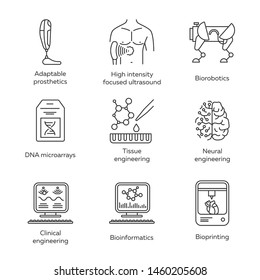 Bioengineering linear icons set. Biotechnology. Molecular biology, biomedical, molecular engineering, bioinformatics. Thin line contour symbols. Isolated vector outline illustrations. Editable stroke