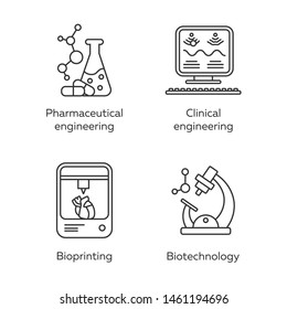 Bioengineering linear icons set. Pharmaceutical and clinical engineering, bioprinting, biotechnology. Thin line contour symbols. Isolated vector outline illustrations. Editable stroke