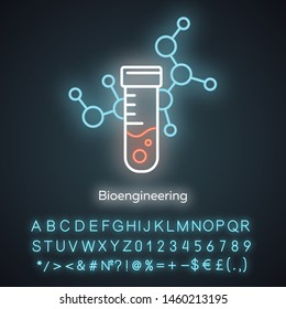 Bioengineering neon light icon. Biological engineering. Scientific medical research. Test tube and molecule. Biochemistry. Glowing sign with alphabet, numbers and symbols. Vector isolated illustration