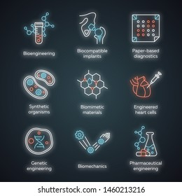Bioengineering neon light icons set. Biotechnology. Molecular biology, biomedical and molecular engineering. Glowing signs. Vector isolated illustrations