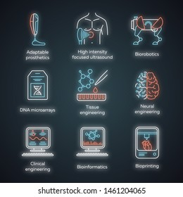 Bioengineering neon light icons set. Biotechnology. Molecular biology, biomedical and molecular engineering, bioinformatics. Glowing signs. Vector isolated illustrations