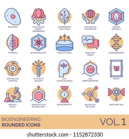 Bioengineering rounded vector icons. Ecological object, experimental functions, grown materials, symbiosis, biotechnology, continuous updating, synthetic biology, cell reprogramming, analyzing DNA.
