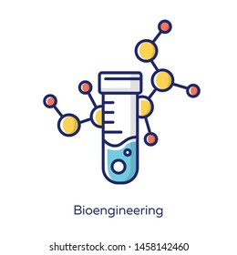 Bioengineering white color icon. Biological engineering. Scientific medical research. Test tube and molecule. Biochemistry, biotechnology. Laboratory equipment. Isolated vector illustration