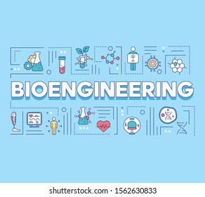 Bioengineering word concepts banner. Biotechnology. Molecular biology, biomedical engineering. Presentation, website. Isolated lettering typography idea with linear icons. Vector outline illustration