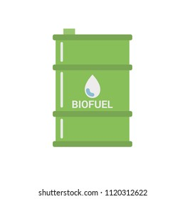 Biofuel Barrel Vector Icon - Biomass Ethanol. Alternative Environmental Friendly Fuel. Isolated on White Background. Trendy Flat Style.