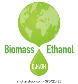 Biofuel: biomass ethanol and earth, vector illustration