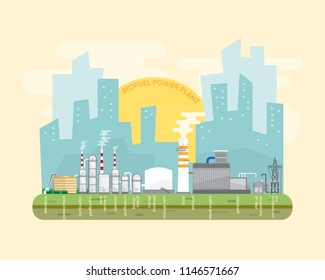 biofuel energy,  biofuel power plant with text of biofuel process and diesel power plant