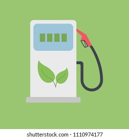 Biofuel Gas Station Vector Icon - Alternative Environmental Friendly Fuel. Isolated on White Background. Trendy Flat Style.
