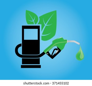 biofuel illustration with green leaf fuel station