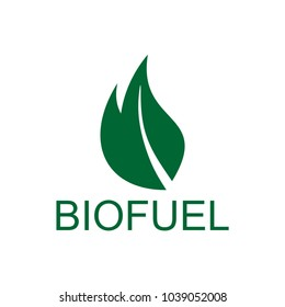 Biofuel logo icon in green color. Fire and leaf abstract.