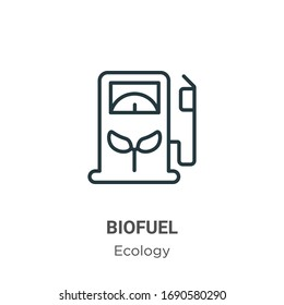 Biofuel outline vector icon. Thin line black biofuel icon, flat vector simple element illustration from editable ecology concept isolated stroke on white background