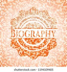 Biography abstract emblem, orange mosaic background