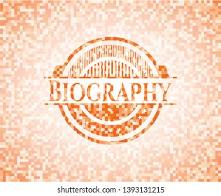 Biography abstract orange mosaic emblem