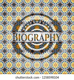 Biography arabesque badge. arabic decoration.