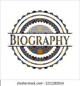 Biography arabic emblem background. Arabesque decoration.