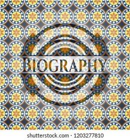 Biography arabic style badge. Arabesque decoration.