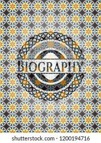 Biography arabic style emblem. Arabesque decoration.