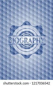 Biography blue polygonal emblem.