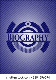 Biography emblem with jean high quality background
