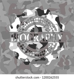 Biography grey camouflage emblem
