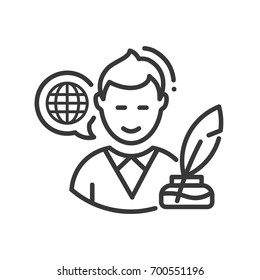 Biography - modern vector single line design icon. A black and white image of an author, writer, person of interest, blogger with feather quil pen and globe in bubble speech. Use it for presentation.