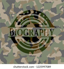 Biography on camo pattern