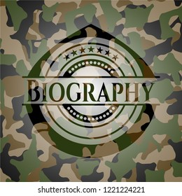 Biography on camouflage texture