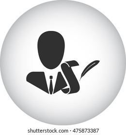 Biography person with scroll symbol sign simple icon on background