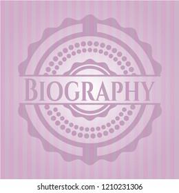 Biography pink emblem. Vintage.