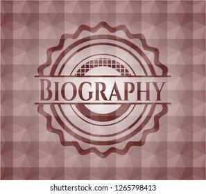 Biography red geometric emblem. Seamless.