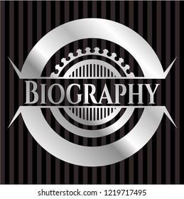 Biography silvery shiny badge