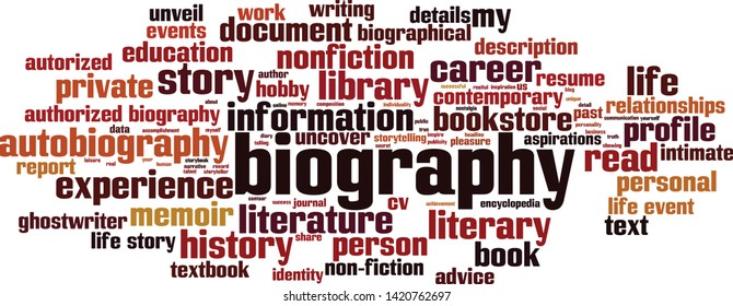 Biography word cloud concept. Collage made of words about biography. Vector illustration