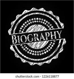 Biography written on a blackboard