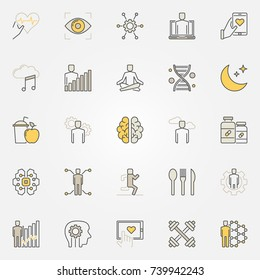 Biohacking colorful icons set. Vector DIY biology creative modern symbols or logo elements