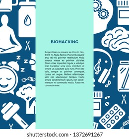 Biohacking concept background in flat style with place for text