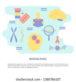 Biohacking concept banner in flat style with place for text